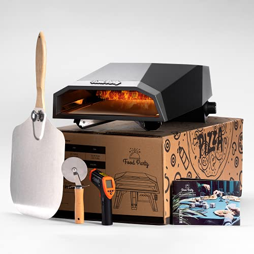 Food Party Outdoor Pizza Oven (Titan Gray) Portable Gas-Fired Outside Ovens with Pizzas Peel, Stone, Cutter, Infrared Thermometer, Recipe and Carry Cover Bag