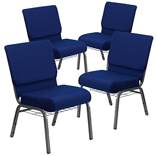 Price comparison product image Flash Furniture 4 Pk. HERCULES Series 21''W Church Chair in Navy Blue Fabric with Cup Book Rack - Silver Vein Frame
