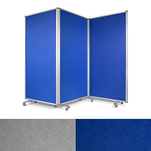 Präsentationswand mobil & faltbar - 3-teilige Pinnwand auf feststellbaren Rollen - auch als Trennwand & Raumteiler - Stellwand Büro mit strapazierfähiger Filzoberfläche (blau, 270 x 35 x 180 cm)