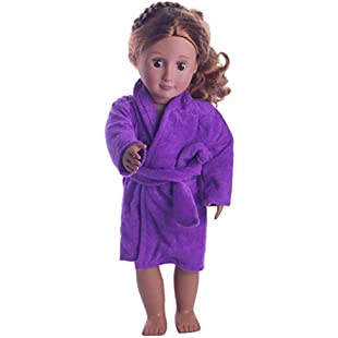 SMILEQ Baby Dolls DIY Dress Up Mini Clothing Set Cute Soft Robe Dolls Robe Fit For 18 inch Our Generation American Girl Doll (Purple)