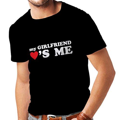 Camisetas Hombre Mi Novia me ama Regalos Novio para San Valentín (Medium Negro Blanco)