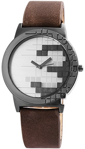 Herrenuhr Silber Schwarz Braun Titan-Look Retro Tetris Leder Armbanduhr