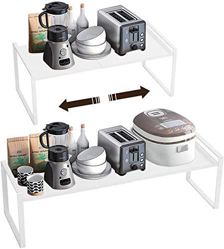 Taotigzu El estante de almacenamiento de metal extensible es para gabinetes de cocina, encimeras, cocina, alimentos y utensilios, podría ahorrar espacios, blanco… (blanco, 60 * 21 * 18cm)