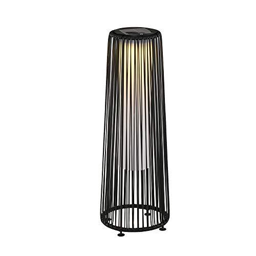 Outsunny Lámpara de Pie de Mimbre Ratán de Energía Solar con LED 1,5 W Interruptor de Control de Luz Automático Decoración para Exterior Ø21,5x61 cm Negro
