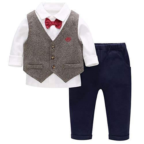 Famuka Baby Anzüge Baby Junge Taufanzug Hochzeit Partei Babybekleidung Set (Braun, 100)
