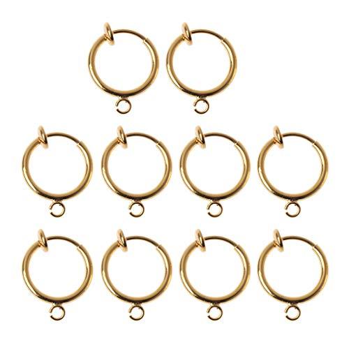 Generic 10 Piezas DIY Clip en Pendientes convertidores no Perforados Oreja Ronda Aros joyería Encontrar Oro