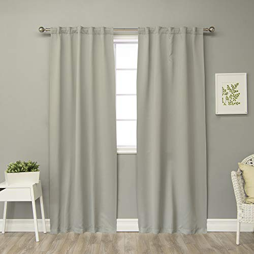 """Best Home Fashion Closeout Thermal Insulated Blackout Curtains - Back Tab/ Rod Pocket 40W - (Set of 2 Panels) (40"""" W x 84"""" L, Dove)"""