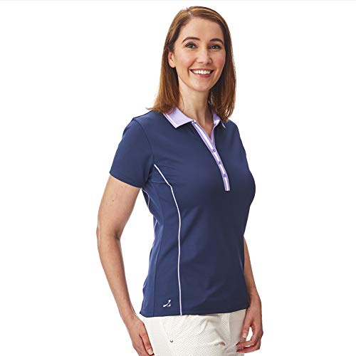 Under Par Damen Golf Pro Qualität Atmungsaktiv Wicking 5 Styles 10 Farben Ärmel & Ärmellos Golf Polo Shirt L Stil 1826 – Marineblau/Lavendel.