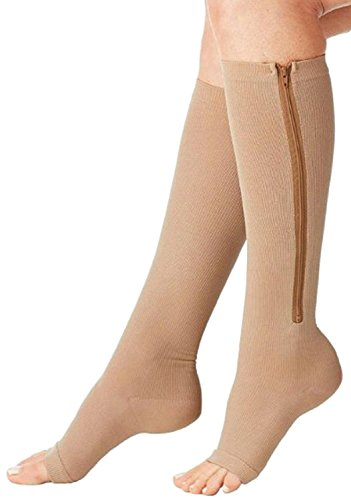 Bcurb Zippered Medical Compression Socks With Open Toe - Best Support Zipper Stocking for Varicose Veins, Edema, Swollen or Sore Legs - Helps Foot Feet Knee Ankle Arch - (1 Pair, Large, Cream)
