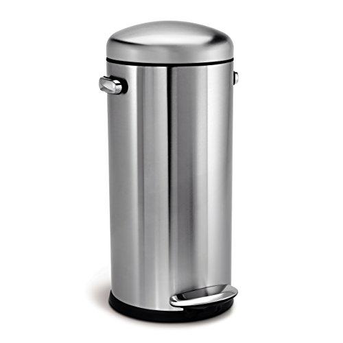 simplehuman CW1880 poubelle rétro à pédale, acier inox brossé 30 L