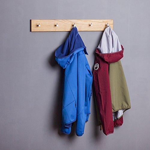WOODS Hakenleiste Garderobe Holz massiv I Garderobenleiste Landhaus I Moderne Wandgarderobe aus Holzhandgefertigt in Bayern I Handtuchhalter I Garderobenpaneel (70cm (6 Haken), Eiche)