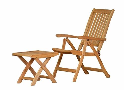 Kai Wiechmann Set! 1 x Fußhocker Pisa + 1 x Teak Hochlehner Pisa Premium Holzauswahl 4-Fach verstellbare Edelstahlbeschläge, FSC-Holz