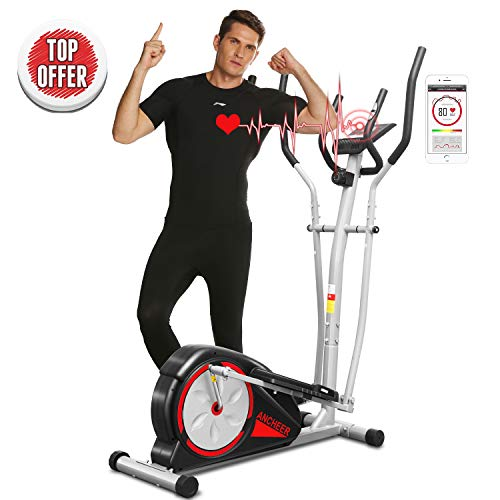 ANCHEER Elliptical Machine Trainer Magnetic Smooth Quiet Driven with LCD Monitor and Pulse Rate Grips (Red)
