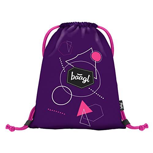 Baagl Turnbeutel für Mädchen und Damen - wasserdichte Schuhbeutel, Schule und Kindergarten Sportbeutel, Sportrucksack (Grafik Violett)