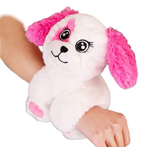 Creamon Plüsch Tier Armband, Plüsch Tier Armband Cartoon weiche Puppe Armband Ohrfeigen Armbänder für Kinder rosa weißen Welpen