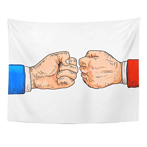 Wandteppiche, Tapestry Wall Hanging Action Two Fighting Fists Cartoon Gesture Modern Design Sign Agreement Air Arm 60
