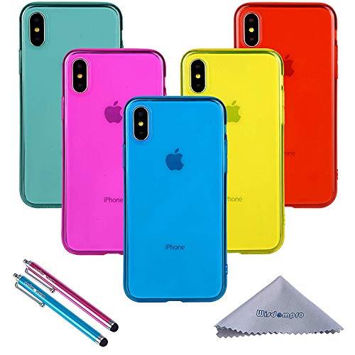 Wisdompro, confezione da 5 custodie protettive ultra sottili in gel di poliuretano termoplastico [XS/X] 5 colori trasparenti