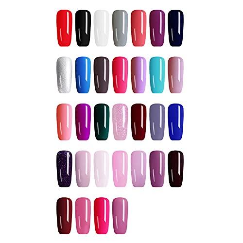 Vernis Semi Permanent Gel Dégradé Chaud UV LED Soak Off DIY Manicure Art Kit Couleur Unie Amovible 8ML, 32 Couleurs Vernis à ongles Colle À Ongles Mode Gels écologique Nail Art