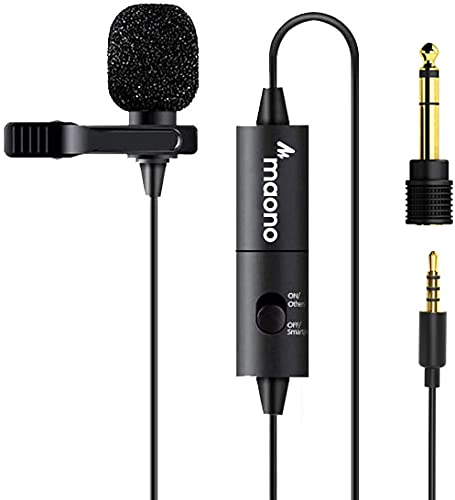 Maono AU-100 Condenser Clip On Lavalier Microphone with 6 Meters Audio Cable