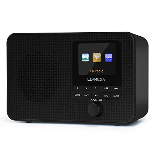 LEMEGA IR1 Portable WiFi Internet Radio,FM Digital Radio,Bluetooth Speaker,Dual Alarms Clock,Sleep Snooze Timer,40 Presets, Headphone-Output,Colour Display,Batteries or Mains Powered – Black Finish