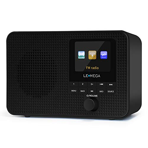 LEMEGA IR1 Portable Internet Radio, FM Digital Radio,WiFi,Bluetooth,Dual Alarms&Clock,Kitchen/Sleep/Snooze Timer,40 Pre-Sets,Headphones Output,Colour Screen,Mains Powered and AA Batteries - Black
