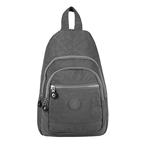 OBC Damen Herren Rucksack Bodybag Daypack Backpack City-Rucksack Schultertasche Trekking Crossbody Crossover Bodybag Brusttasche Fahrrad Sport Nylon Tasche (Grau 22x32x13 cm)