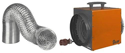 Professionele ventilatorkachel & warme luchtslang 9 KW Eurom Heat Duct Werkplaatsverwarming Verwarming Tentverwarming Bouwverwarmer Bouwdroger Extra verwarming