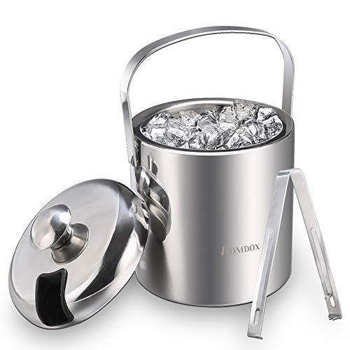 Eiseimer Eisbehälter sektkühler eiswürfelbehälter mit Zange und Deckel Edelstahl Weinkühle eiskübel eiskühler Doppelwand-Isolierung für besonders lange Kühlung 1.2 L (Silber 2)