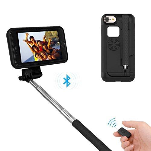 "Best iPhone 7 iphone 8 Selfie Stick for women men, Portable Extendable Monopod Wireless bluetooth Selfie Sticks Case Cover for Apple iPhone 7 iphone 8 4.7"" (Black)"