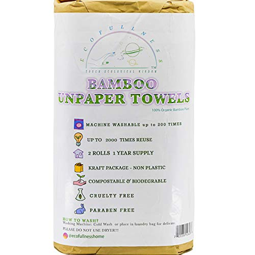 Ecofullness - Bamboo Reusable Paper Towels Washable (40 Sheets) Zero Waste Unpaper Towels Eco Friendly Paper Towel Alternative Heavy Duty Lint Free Paper Towels 2 Rolls 1 Year Supply