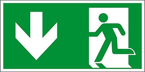 LEMAX® Rettungszeichen Notausgang, Pfeil nach unten, Kunststoff 300 x 150 mm (Rettungsschild, Fluchtweg) wetterfest