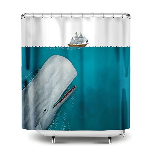 WIRESTER 72 x 72 inch Fabric Shower Curtain for Bathroom - White Whale Moby Dick