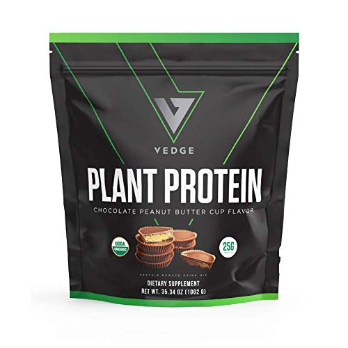Certified Organic Plant Protein Chocolate Peanut Butter Cup (25 Servings) - Plant-Based Vegan Protein Powder, USDA Organic, Gluten Free, Non Dairy - Vedge Nutrition Plant Protein
