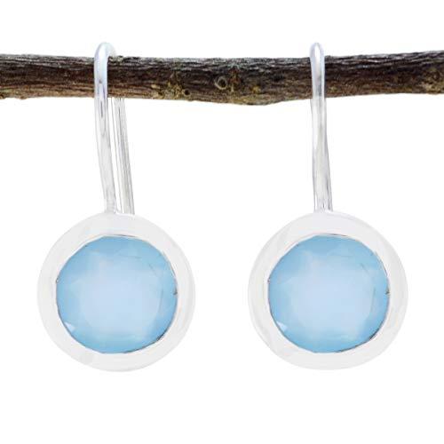gioiello plata calcedonio blu naturale un gioiello forma rotonda sfaccettato unico orecchino in argento sterling