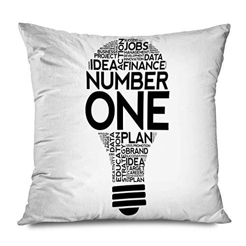 LXJ-CQ Funda de Almohada Cuadrada 18x18 Número uno Palabra Nube Competencia Objetivo Idea 1 Premio Texto Solución empresarial Concepto Finanzas Objetos Funda de Almohada con Cremallera