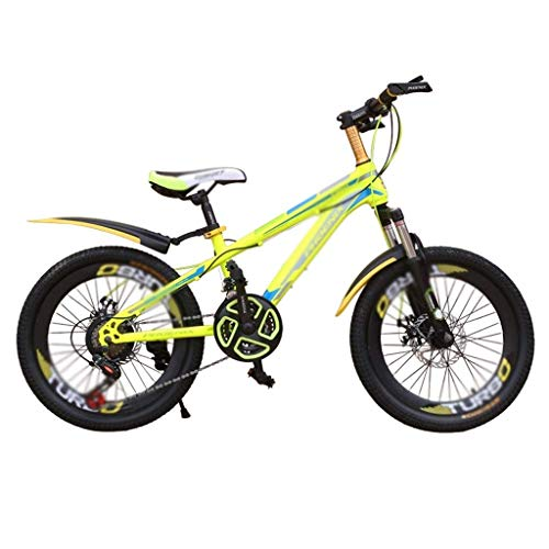 seveni Kids' Bikes, Stroller Shock Absorber Road Riding Boy Girl Bicycle Children Drift Bicycle Safety Double Disc Brake Mountain Bike (Color : Yellow, Size : 21inches)