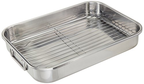 ExcelSteel Multiuse with Rack and Foldable Handles for Easy Storage Stainless Steel Roasting Pan, 15.25""