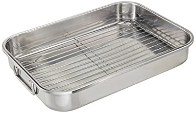 """ExcelSteel Multiuse with Rack and Foldable Handles for Easy Storage Stainless Steel Roasting Pan, 15.25"""""""