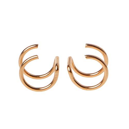 zrshygs Ear Clip Pendientes Titanio 2 Anillos Ear Cuff Clips