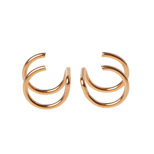 Joocyee Titanium 2 Anillos Ear Cuff Clips On Helix Cartilage Ring No Piercing Body Jewelry, Rose Gold Pendientes de Clip nasolabial de Doble Anillo en Forma de U, Rose Gold