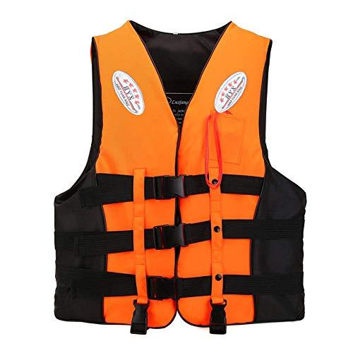ライフジャケット ジュニアフローティングベスト 救命胴衣 反射帯付き 子供用 大人用 男女兼用 川遊び 釣り ボート 海水浴 緊急時に役立つ 強い浮力 高い負荷力 安全安心 ベストタイプ (オレンジ, M(大人用35kg-60kg))