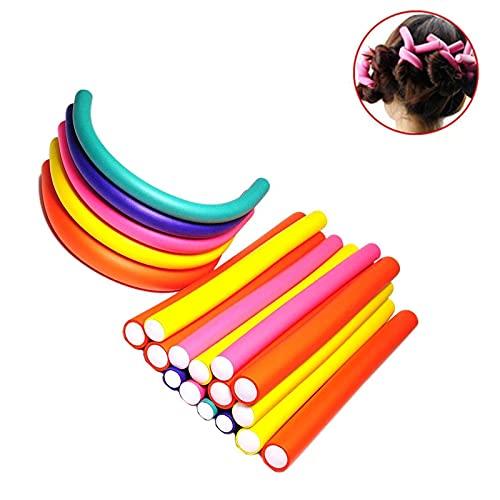 Pinkiou Barras de rizado flexibles Rodillo rizador de pelo de espuma Varillas de flexión giratoria Juego de 7 tamaños (42 piezas)