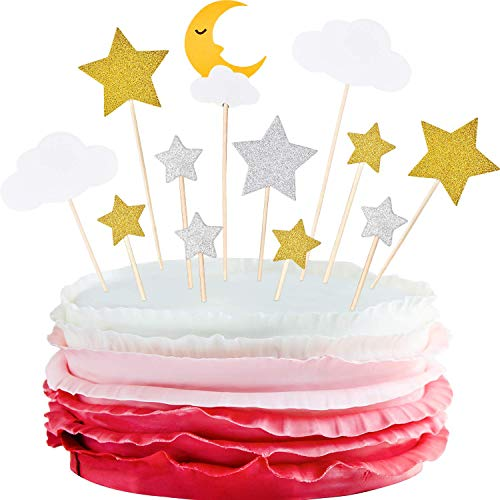 72 Pieces Glitter Star Moon Cupcake Toppers Moon Star White Clouds Cake Toppers Cake Decoration for Birthday Party Baby Shower Wedding Christmas Valentine's Day