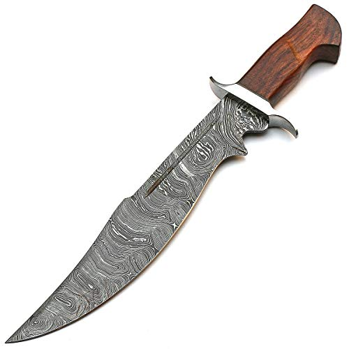 "9254-STJB 19"" Inch Rose Wood Handle - Beautiful Damascus Knives - Best Handmade Damascus Steel Knife with Sheath"
