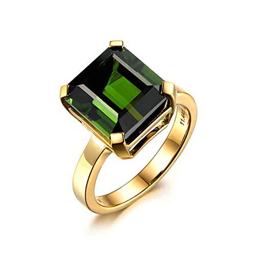 Ubestlove Gold Ring 18K Personalised Mens Ring Promise Design Inlaid 11.5Ct Green Tourmaline Ring Ladies Gifts P 1/2