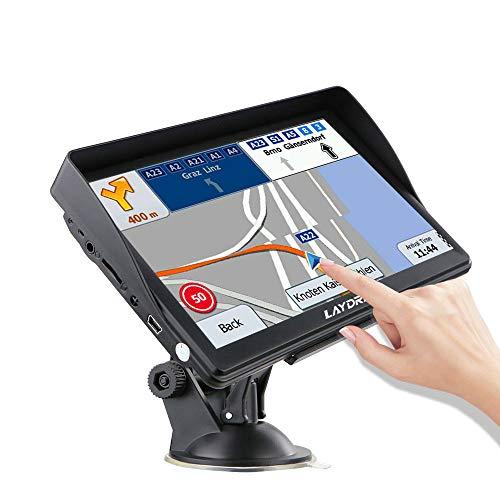 LAYDRAN Sistema de navegación GPS para camión, portátil, satélite, de 7 pulgadas, con cámara de velocidad y pantalla táctil de guía de voz y mapa de navegador de por vida de la UE 46 países 2020