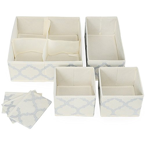 Set di 4 contenitori con divisori per armadio, cassettiera, bagno o cameretta dei bambini, per riporre calzini, biancheria intima, abbigliamento, tessuto beige con design argento