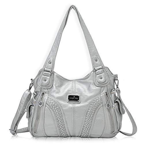 angel kiss Hobo Tasche Schultertaschen Handtaschen Umhängetaschen Henkeltaschen Fredsbruder Taschen Damen Weiches Leder (1555-Silber)