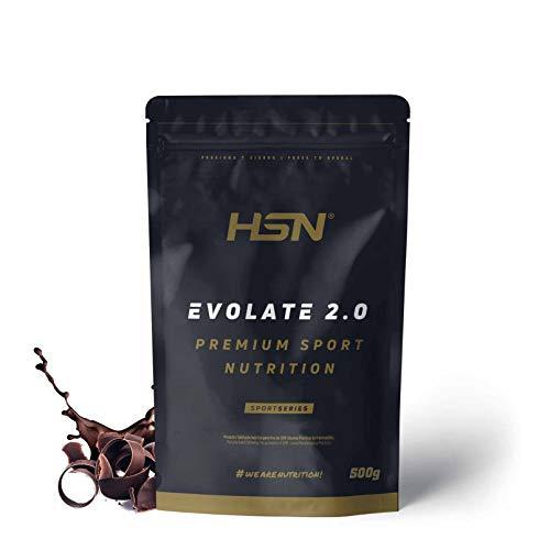 Whey Protein Isolate (WPI) di HSN – Proteine Isolate del Siero Evolate 2.0 - Con Digezyme, Ricco di BCAA e Glutammina, Adatto ai Vegetariani, Senza Glutine, Senza Soia, Gusto Cioccolato - 500g