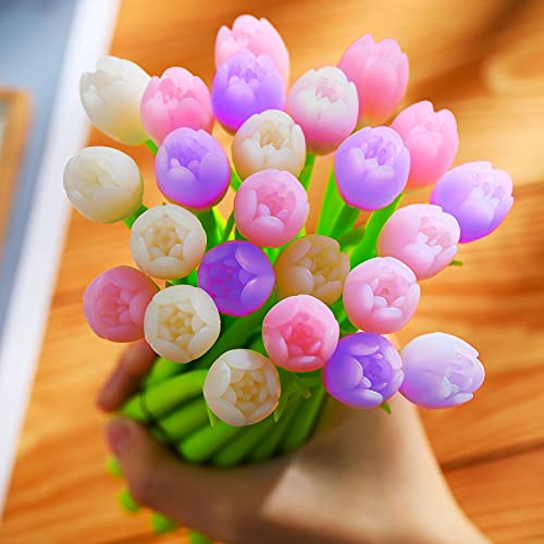 Color Changing Flower Pens Tulip Ballpoint Pens 0.5 mm Black Gel Ink Rollerball Pen for School Office Home Store Stationery Kids Teachers Teachers Present, Party Favor Decor (24 Pieces)
